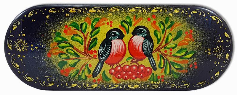 Шкатулка лаковая Снегири, ручная роспись (металл, пластик), 16x6x3.5