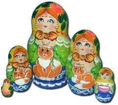 Матрешка Сергиево-Посадская 5 мест Девочка с рыженькой кошкой