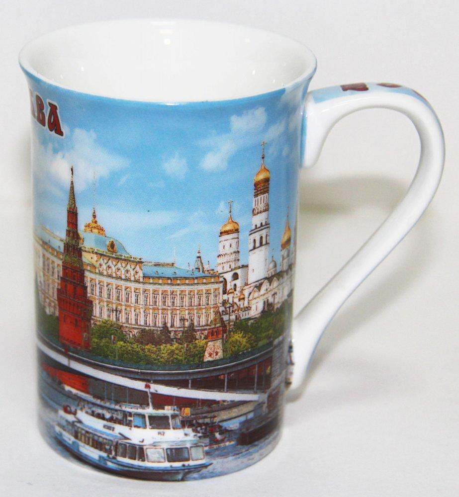Кружка 061-19 костяной фарфор, цветная деколь, Москва, Храм Василия Блаженного.