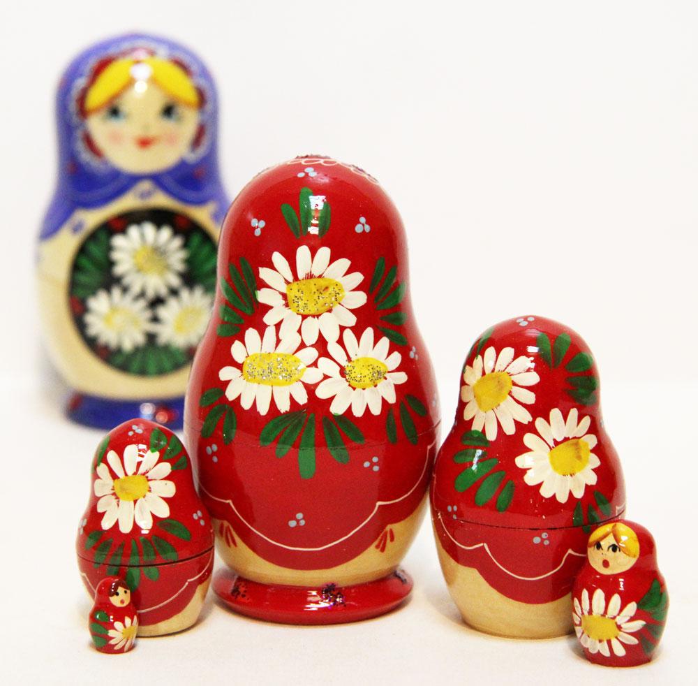 Матрешка Сергиево-Посадская 5 мест Ромашки красная