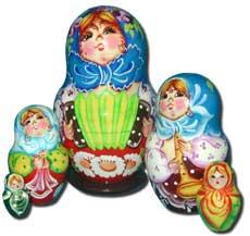Матрешка Сергиево-Посадская 5 мест Девушка с гармошкой