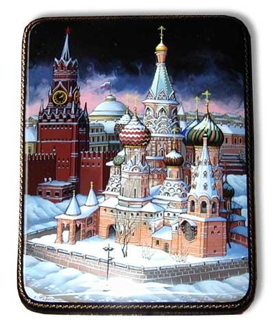 Шкатулка лаковая Федоскино Виды Москвы в ассортименте 13x13x3 или 15x10x3 см.