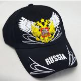 Головной убор Бейсболка Россия, Герб Россия, крылья, черная