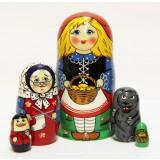 Матрешка Сергиево-Посадская 5 мест Красная шапочка