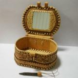 Береста шкатулка с зеркалом внутри