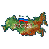 Магнит карта России физическая, флаг...
