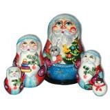Новый Год и Рождество матрешка 5 мест дед мороз с зайцем