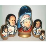 Матрешка 5 мест Гагарин, космонавты