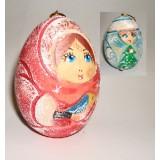Новый Год и Рождество елочная игрушка яйцо резное Снегурочка ПГ