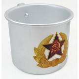 Кружка алюминиевая, солдатская кокарда