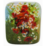 Шкатулка лаковая Федоскино Букет цветов, маки с ромашками