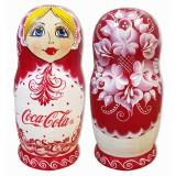 Матрешка по заказу клиента футляр 20 см с логотипом Кока-Кола