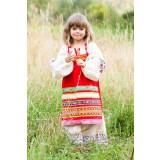 Русский народный костюм ФАРТУКИ красный, 115 см