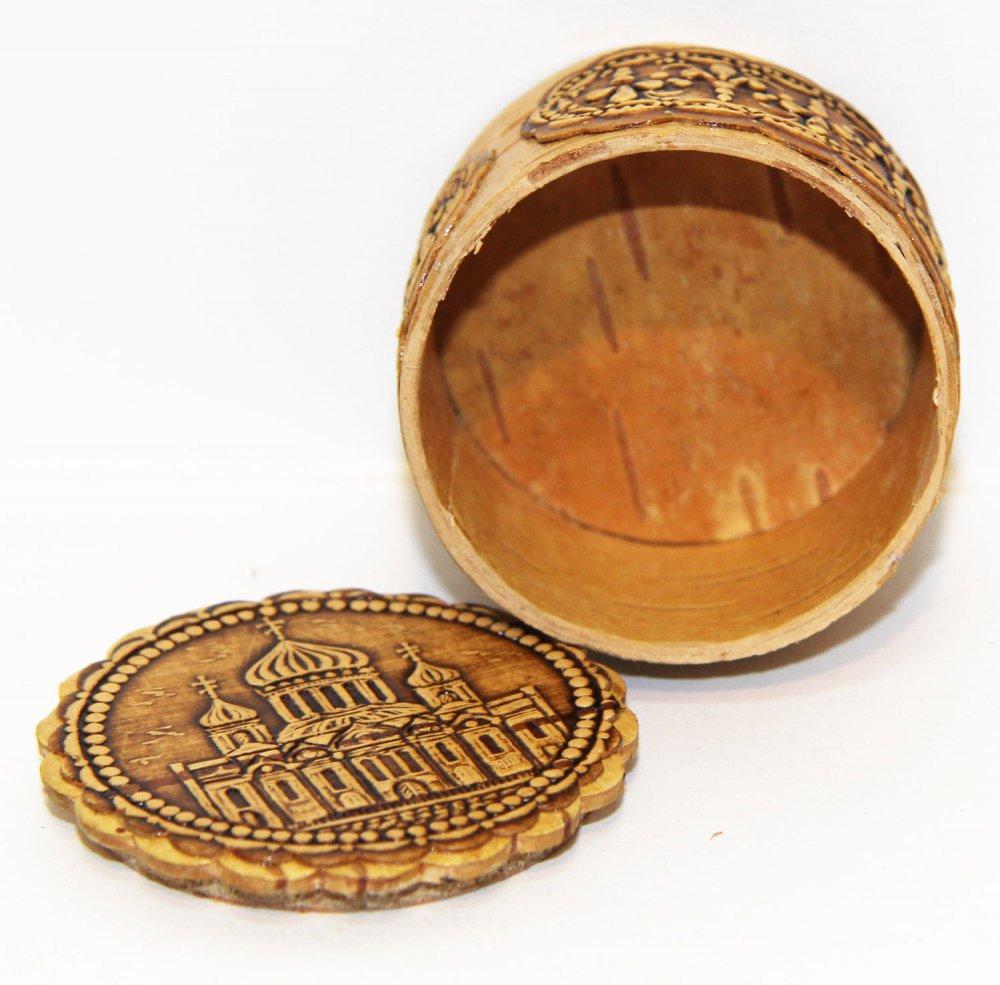 Береста шкатулка круглая Храм,