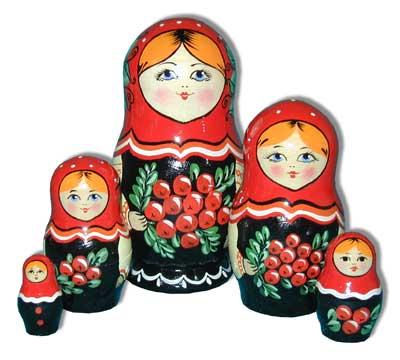 Матрешка Сергиево-Посадская 5 мест Рябина