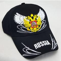 Головной убор Бейсболка Золотой герб России, в асс. цветов синяя красная