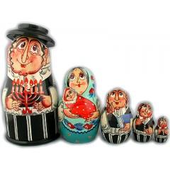 Матрешка Сергиево-Посадская 5 мест Евреи со свечей мал.