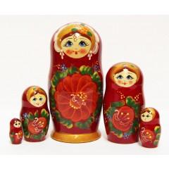 Матрешка Сергиево Посадская 5 мест Цветы бол.