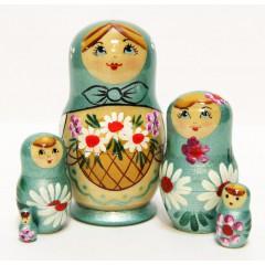 Матрешка Сергиево-Посадская 5 мест Корзина ромашек