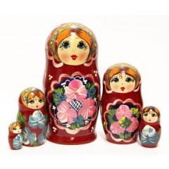 Матрешка Сергиево-Посадская 5 мест Цветы70
