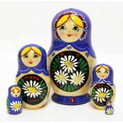 Матрешка Сергиево-Посадская 5 мест Ромашки синяя