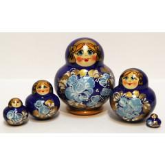 Матрешка Сергиево-Посадская 5 мест МНА синяя