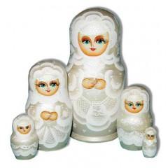 Матрешка Сергиево-Посадская 5 мест Невеста белая