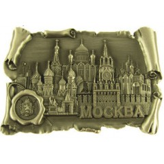 Магнит металлический 027-4BR-19k24 свиток с печатью Москва соборы цв. антац.олово