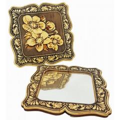 Береста зеркало квадратное, цветы