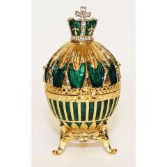 Копия Фаберже 114-0223-3 Яйцо пасхальное малое Королевское зеленое с букетом