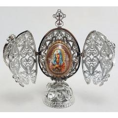 """Копия Фаберже JD0783-1 Яйцо пасхальное, """"Ажурное большое"""", цвет серебро"""