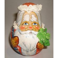 Неваляшка лепнина Дед Мороз с елкой в руках 10 см ПГ (елочная игрушка)