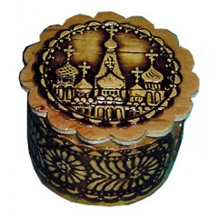 Береста шкатулка круглая 3 Храм