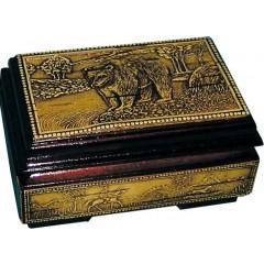 Береста шкатулка 10832/1 ларец Медведь