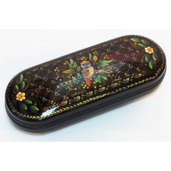 Шкатулка Сова, ручная роспись (металл, пластик), 16x6x3.5 см.