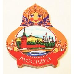 Магнит Собор Василия Блаженного на матрешке деревянный
