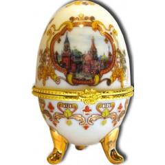 """Яйцо пасхальное фарфоровое 085W-34-18-20 рисунок 4""""ХВБ - Коллаж"""" цв.белый h3"""""""