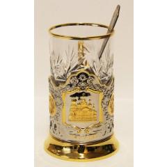 Подстаканник Храм чайный набор, позол. подстаканник и стакан с ложкой