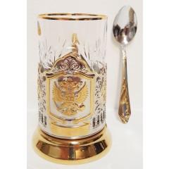 Подстаканник Герб России, чайный набор, позол. подстаканник и стакан с ложкой