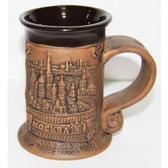 Кружка 065-5-19k21 керамическая с широкой ручкой, Москва, Панорама, цвет коричневый.