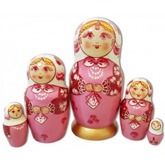 Матрешка Сергиево Посадская 5 мест кружевной платок Розовая