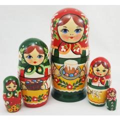 Матрешка Традиционная 5 мест трад. с куличом к Пасхе