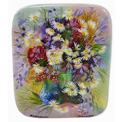 Шкатулка лаковая Федоскино Букет цветов, Ромашки.