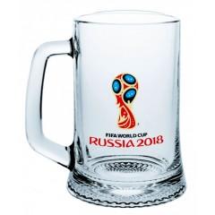 Чемпионат мира по футболу 2018 ЧМ2018 Кружка стеклянная для пива Эмблема, 500 мл.