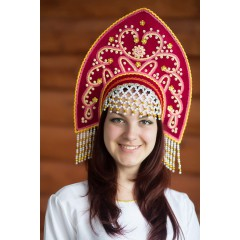 Русский народный костюм КОКОШНИКИ Кокошник Анна АНН-00-10-00, с золотом, цвет Бордо
