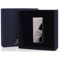 Подарок с гравировкой Художественные изделия из серебра 14010349, Серебряный зажим для купюр «Герб»
