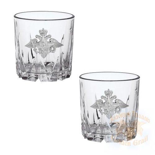 Подарок с гравировкой Подарки для мужчин Бокалы для виски 050202024, Набор 2 бокала для виски Карат Отечество Долг Честь к/к красный