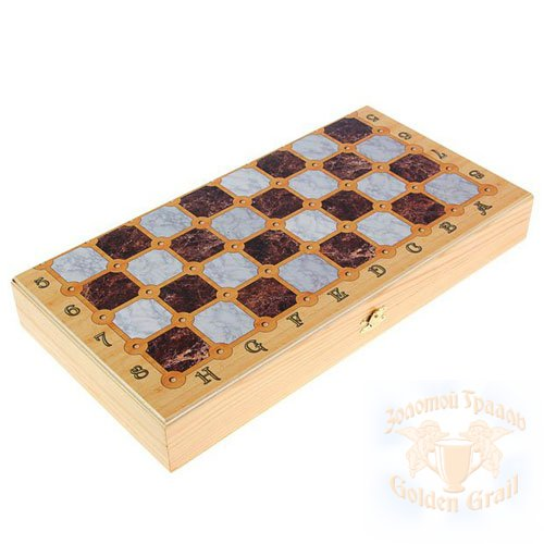 Подарок с гравировкой Настольные игры Шахматы, шашки 030102003, Набор средний 3 в 1 Мраморные  (Шахматы, нарды, шашки)