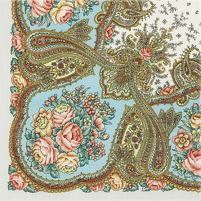 """Платок Павловопосадский с шелковой бахромой 89 x 89 1549-2 """"Сольвейг"""", вид 2"""