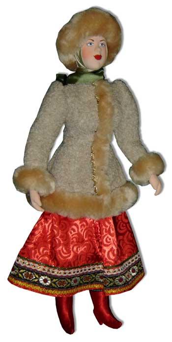 Кукла авторская Галина Масленникова А1-15 Девушка в зимнем костюме